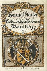 Historischer Verein Bamberg (Hg.)  Heimatblätter für das Jahr 1921 (= 2. Jg.)