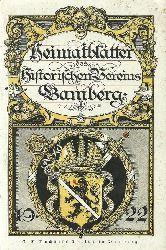 Historischer Verein Bamberg (Hg.)  Heimatblätter für das Jahr 1922 (= 3. Jg.)