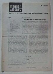 Lohmüller, Wolfgang (Red.)  Mensch und Staat 4. Jg. Heft 1 (zeitschrift für ordnungspolitik und widerstandsrecht)