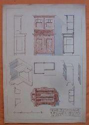 """Hörrle, Heinrich  Baukonstruktionszeichnung """"Möbelzeichnen"""" (Entwurf für Küchenschrank und Schaft)"""