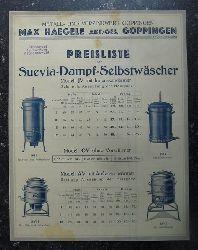 """Waschmaschine - Max Haegele AG, (Göppingen):  Werbeblatt der Firma Max Haegele AG Göppingen Metall- und Verzinkwerk für """"Suevia-Dampf-Selbstwäscher"""" (Modell JV mit Innenvorwärmer; Modell OV ohne Vorwärmer; Modell AV mit Außenvorwärmer)"""