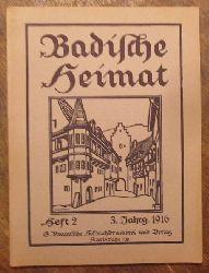 Wingenroth, M. (Hg.):  Badische Heimat. Heft 2, 1916 (Zeitschrift für Volkskunde, ländliche Wohlfahrtspflege, Heimat- und Denkmalschutz)
