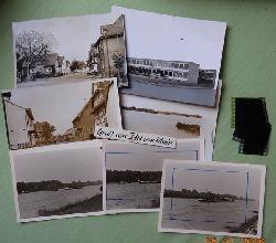 Au am Rhein - Meyer, Walter (Karlsruhe):  7 s/w Fotografien, und 5 Negative von Au am Rhein v. 1.7.1963 (Rheinschiffe, Straße mit Lebensmittelladen und Kruzifix, Gastwirtschaft Rappen, Neue Schule)