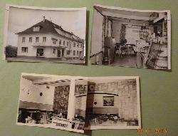 Meyer, Walter (Karlsruhe)  3 s/w Fotografien und 0 Negative v. Kuppenheim v. 21.4.1964 (Schwarzwaldcafe innen und außen, 1 Fotocollage)