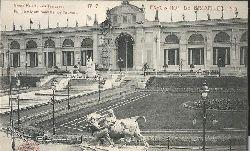 ohne Autor  Ansichtskarte Grande Palais, Les Terrasses, Fontaine Monumentale, Le Taureau (Exposition de Bruxelles 1910 No. 7)