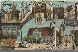 ohne Autor  Ansichtskarte Gruß aus Jüterbog (Damm-Tor, Neumarkt-Tor, Marktplatz mit Rathaus, Zinnaer Tor und drei Sprüche)
