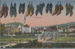 Tuttlingen - ohne Autor:  Ansichtskarte Tuttlingen Ruine Honberg, Stadtansicht und Schuhe an der Leine