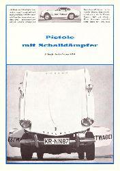 Triumph  Pistole mit Schalldämpfer. B. Busch fuhr den Triumph GT6 (Werbesprospekt)