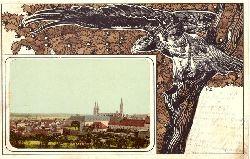Ansichtskarte Bamberg Ortsansicht und Adlerornament v. H.S.