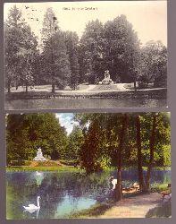 2 Ansichtskarten. AK Moers. Schloßpark, Greef-Denkmal