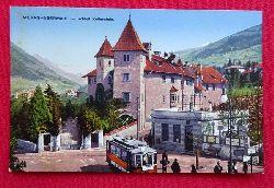Ansichtskarte AK Meran-Obermais. Schloß Rottenstein (mit Straßenbahn)