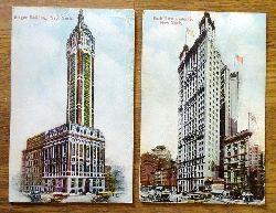 2 Ansichtskarten AK Singer Builing New York + Park Row Builing New York