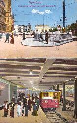 Ansichtskarte AK Hamburg. Untergrundbahn am Rathausmarkt (2 Motive)