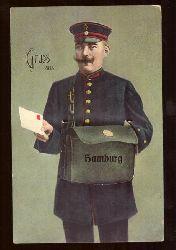 Ansichtskarte AK Gruss aus Hamburg, Briefträger mit Tasche und darin Leporello mit Bildern v. Hamburg