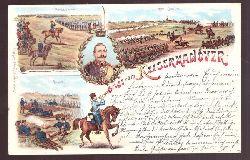 Ansichtskarte AK Gruß vom Kaisermanöver (Farblitho, 4 Motive)