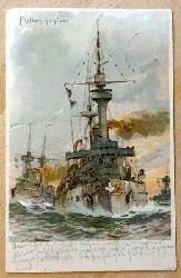 Stöwer, Willy  Ansichtskarte AK Flottenmanöver (Künstlerkarte (Litho) v. Willy Stöwer (hier nicht im Druck signiert; es gibt im Druck signierte identische Karten)
