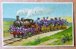 Ansichtskarte AK Blumengeschmückte Dampflok (Farblitho)