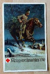 """Ansichtskarte AK Kriegsweihnachten 1916 (Künstlerkarte """"F.K."""" Offizielle Postkarte Ortssammellkomittee Nürnberg vom Roten Kreuz)"""