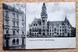Ansichtskarte AK St. Johann-Saarbrücken, Hotel Union am Bhanhof. Spezialhaus für Geschäftsreisende + Rathaus