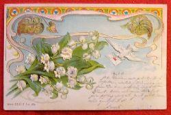 Ansichtskarte AK Brieftaube mit Brief und Schneeglöckchen, Jugendstilornamente (wunderschöne Karte, Farblitho, Prägedruck)