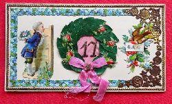 """Glückwunschkarte zum 17. Geburtstag """"Viel Glück"""" (Karte mit montierten wundervollen Motiven)"""
