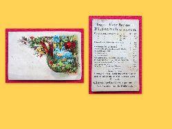 Werbekarte der Firma Clara Schedler, Bogenstrasse 30, Schuhwaaren-Fabrik-Niederlage (vorne farbiges lithographisches Motiv aus dem alpenländischen Raum, hinten 1 Seite Angebote für Schuhe mit Preisen)