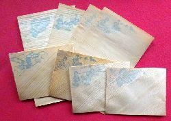 4 hübsche kleinformatige Zierumschläge und 5 Bogen Schreibpapier mit chinesischen Motiven