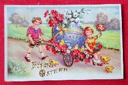 Ansichtskarte AK Fröhliche Ostern (Prägekarte. Kinder mit gr. Osterei auf Handwagen)