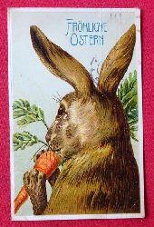 Ansichtskarte AK Fröhliche Ostern (Prägekarte Hase mit Karotte)