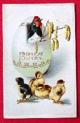 Ansichtskarte AK Fröhliche Ostern (Farblitho. Ein Hahn im Osterei und 4 Küken)