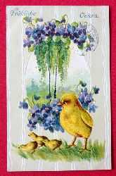 Ansichtskarte AK Fröhliche Ostern (Prägekarte. Küken mit Alpenveilchen. Jugendstil)