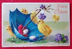 Ansichtskarte AK Fröhliche Ostern (Prägekarte. Farblitho. 5 Küken mit Regenschirm)