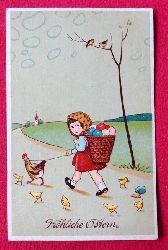 Ansichtskarte AK Fröhliche Ostern (Mädchen mit Hahn an der Leine und Küken)