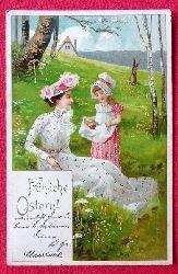 Ansichtskarte AK Fröhliche Ostern (Edle Dame und Tochter beim Ostereiersuchen)