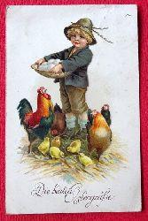 Ansichtskarte AK Die besten Ostergrüße (Junge mit Hühnern und Küken)