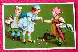 Ansichtskarte AK Fröhliche Ostern (Farblitho. 3 Mädchen mit Körben)