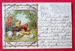 Ansichtskarte AK Fröhliche Ostern (Farblitho. Henne mit Küken und Spruch)