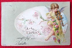 Ansichtskarte AK Fröhliche Ostern (Prägekarte, Farblitho. Mädchen mit Geige)