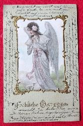 Ansichtskarte AK Fröhliche Ostern (Engel im Goldrahmen)