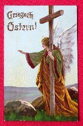 Ansichtskarte AK Gesegnete Ostern (Engel mit Kreuz)