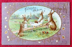 Ansichtskarte AK Fröhliche Ostern (Osterhasen beim Spielen)