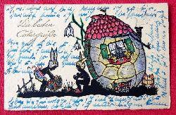Ansichtskarte AK Die besten Ostergrüße (Mädchen im Osterhasenkostüm vor Ostereierhaus. Mit Stempel Gräditz vor Reichenbach / Eulengebirge)