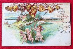 Ansichtskarte AK Fröhliche Ostern (Farblitho. Engel mit vielen Glocken vor Landschaft)