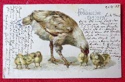 Ansichtskarte AK Fröhliche Ostern (Farblitho. Prägekarte Henne mit 6 Küken)