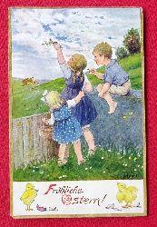 Ansichtskarte AK Fröhliche Ostern (Künstlerkarte Franziska Schenkel)