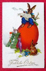 Ansichtskarte AK Fröhliche Ostern (Osterhasen beim Bemalen von großem Ei)