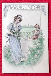 Ansichtskarte AK Fröhliche Ostern (Frau mit musizierendem Kind und Lämmern)