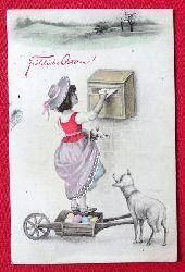 Ansichtskarte AK Fröhliche Ostern (Mädchen am Briefkasten mit Osterpost)