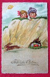 Ansichtskarte AK Fröhliche Ostern (2 Kinder beobachten fliehenden Osterhasen)