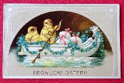 Ansichtskarte AK Fröhliche Ostern (Küken mit Eier in einer Gondel)